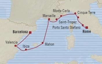 Singles Cruise - Balconies-Suites Oceania Sirena August 19-29 2019 Barcelona, Spain to Civitavecchia, Italy