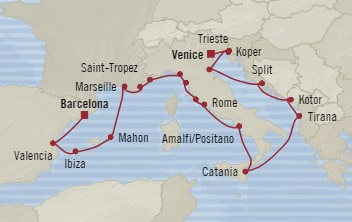 SINGLE Cruise - Balconies-Suites Oceania Sirena August 19 September 8 2019 Barcelona, Spain to Venice, Italy