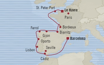 LUXURY CRUISE - Balconies-Suites Oceania Sirena August 7-19 2019 Le Havre, France to Barcelona, Spain