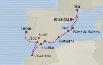 SINGLE Cruise - Balconies-Suites Oceania Sirena July 17-27 2019 Barcelona, Spain to Lisbon, Portugal