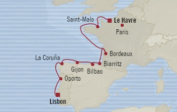 LUXURY CRUISE - Balconies-Suites Oceania Sirena July 27 August 7 2019 Lisbon, Portugal to Le Havre, France