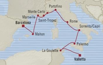 SINGLE Cruise - Balconies-Suites Oceania Sirena July 7-17 2019 Valletta, Malta to Barcelona, Spain