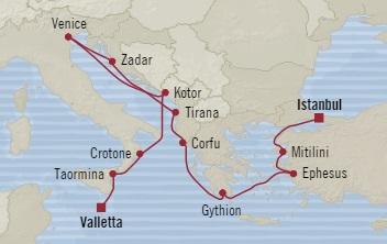SINGLE Cruise - Balconies-Suites Oceania Sirena June 25 July 7 2019 Istanbul, Turkey to Valletta, Malta