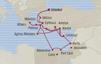 Singles Cruise - Balconies-Suites Oceania Sirena June 3-25 2019 Istanbul, Turkey to Istanbul, Turkey