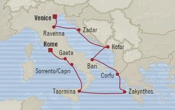 Singles Cruise - Balconies-Suites Oceania Sirena May 11-22 2019 Venice, Italy to Civitavecchia, Italy