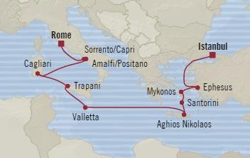 Singles Cruise - Balconies-Suites Oceania Sirena May 22 June 3 2019 Civitavecchia, Italy to Istanbul, Turkey