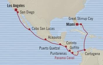 Singles Cruise - Balconies-Suites Oceania Sirena November 25 December 11 2019 Miami, FL, United States to Los Angeles, CA, United States
