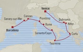 Singles Cruise - Balconies-Suites Oceania Sirena September 8-20 2019 Venice, Italy to Barcelona, Spain