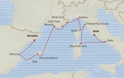 Cruises Oceania Sirena Map Detail Barcelona, Spain to Civitavecchia, Italy August 18-30 2017 - 12 Days