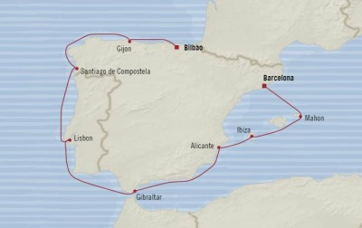 Cruises Oceania Sirena Map Detail Bilbao, Spain to Barcelona, Spain August 8-18 2017 - 10 Days