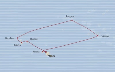 Cruises Oceania Sirena Map Detail Papeete, French Polynesia to Papeete, French Polynesia December 12-22 2017 - 10 Days