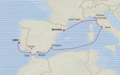 Cruises Oceania Sirena Map Detail Barcelona, Spain to Lisbon, Portugal July 17-27 2017 - 10 Days