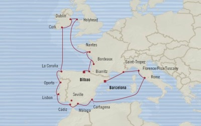 Cruises Oceania Sirena Map Detail Barcelona, Spain to Bilbao, Spain July 17 August 8 2017 - 22 Days
