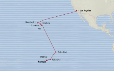 Cruises Oceania Sirena Map Detail Los Angeles, CA, United States to Papeete, French Polynesia November 12-30 2017 - 18 Days