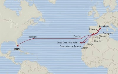 Cruises Oceania Sirena Map Detail Barcelona, Spain to Miami, FL, United States September 22 October 17 2017 - 25 Days