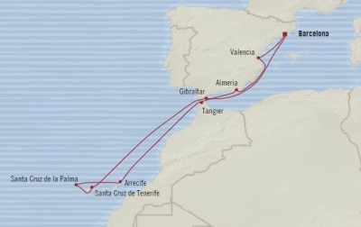Cruises Oceania Sirena Map Detail Barcelona, Spain to Barcelona, Spain September 22 October 3 2017 - 11 Days