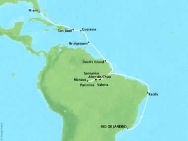 Cruises Oceania Sirena Map Detail Rio De Janeiro, Brazil to Miami, FL, United States April 2-23 2018 - 21 Days