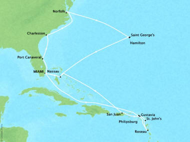 Cruises Oceania Sirena Map Detail Miami, FL, United States to Miami, FL, United States April 23 May 14 2018 - 21 Days