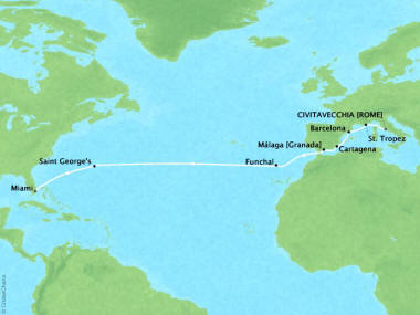 Cruises Oceania Sirena Map Detail Civitavecchia, Italy to Miami, FL, United States August 31 September 16 2018 - 16 Days