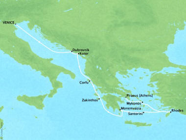 Cruises Oceania Sirena Map Detail Venice, Italy to Piraeus, Greece August 9-19 2018 - 10 Days