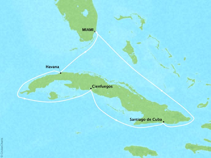 Cruises Oceania Sirena Map Detail Miami, FL, United States to Miami, FL, United States December 27 2018 January 3 2019 - 7 Days