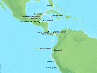 Cruises Oceania Sirena Map Detail Miami, FL, United States to Callao, Peru February 10-28 2018 - 18 Days