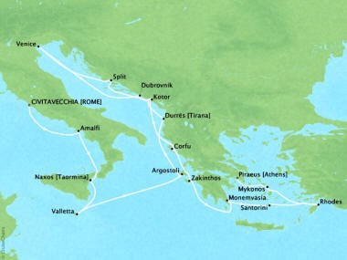 Cruises Oceania Sirena Map Detail Civitavecchia, Italy to Piraeus, Greece July 30 August 19 2018 - 20 Days