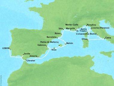 Cruises Oceania Sirena Map Detail Lisbon, Portugal to Civitavecchia, Italy July 8-30 2018 - 22 Days