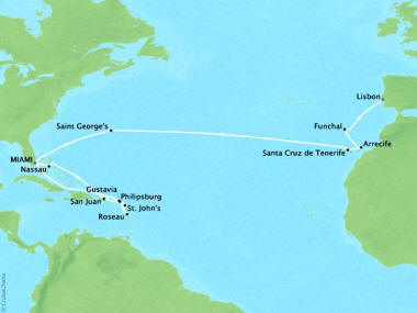 Cruises Oceania Sirena Map Detail Miami, FL, United States to Lisbon, Portugal June 13 July 8 2018 - 25 Days