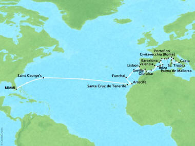 Cruises Oceania Sirena Map Detail Miami, FL, United States to Civitavecchia, Italy June 23 July 30 2018 - 37 Days