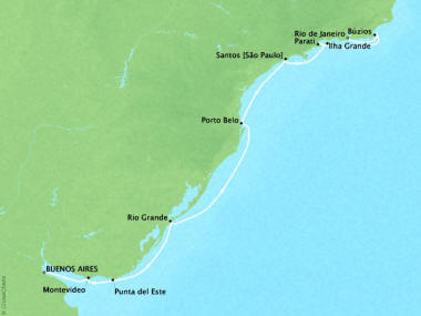Cruises Oceania Sirena Map Detail Buenos Aires, Argentina to Rio De Janeiro, Brazil March 21 April 2 2018 - 13 Days