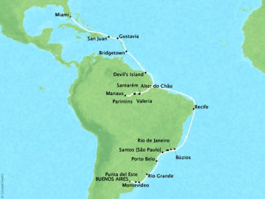 Cruises Oceania Sirena Map Detail Buenos Aires, Argentina to Miami, FL, United States March 21 April 23 2018 - 34 Days