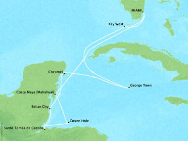 Cruises Oceania Sirena Map Detail Miami, FL, United States to Miami, FL, United States May 14-24 2018 - 10 Days