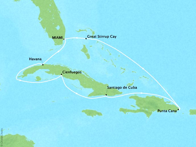 Cruises Oceania Sirena Map Detail Miami, FL, United States to Miami, FL, United States November 30 December 10 2018 - 10 Days