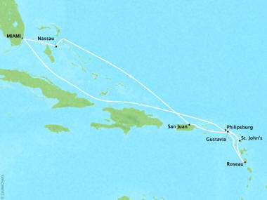 Cruises Oceania Sirena Map Detail Miami, FL, United States to Miami, FL, United States October 26 November 5 2018 - 10 Days
