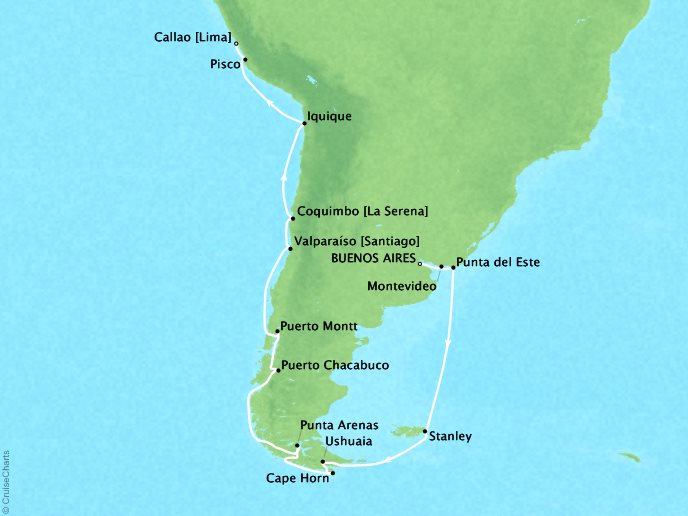 Cruises Oceania Sirena Map Detail Buenos Aires, Argentina to Callao, Peru February 23 March 16 2019 - 33 Days