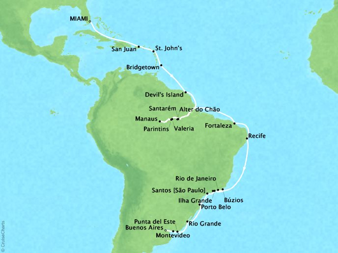 Cruises Oceania Sirena Map Detail Miami, FL, United States to Buenos Aires, Argentina January 20 February 23 2019 - 34 Days
