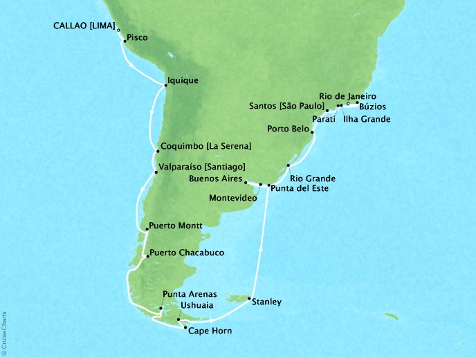 Cruises Oceania Sirena Map Detail Callao, Peru to Rio De Janeiro, Brazil March 16 April 18 2019 - 33 Days