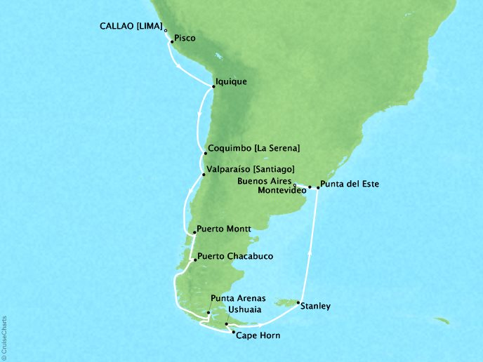 Cruises Oceania Sirena Map Detail Callao, Peru to Buenos Aires, Argentina March 16 April 6 2019 - 21 Days