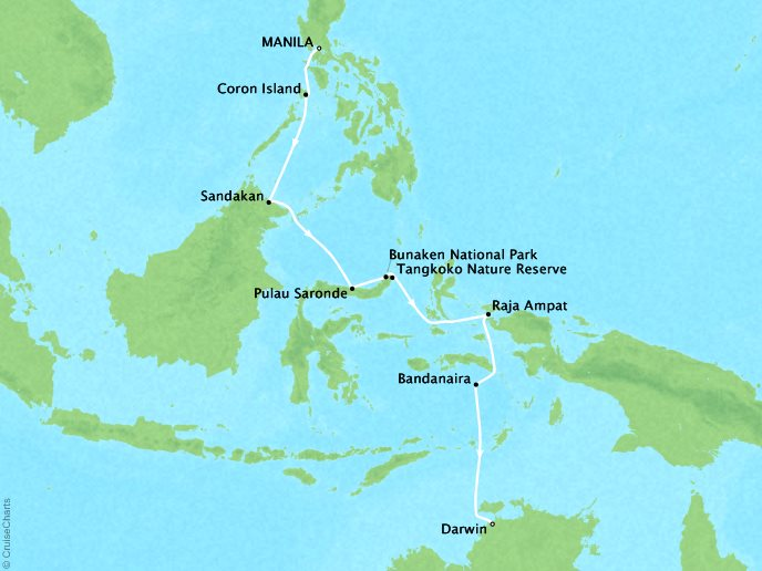 Cruises Ponant Yatch Cruises Expeditions L'Austral Map Detail Manila, Philippines to Darwin, Australia June 17-29 2018 - 12 Days