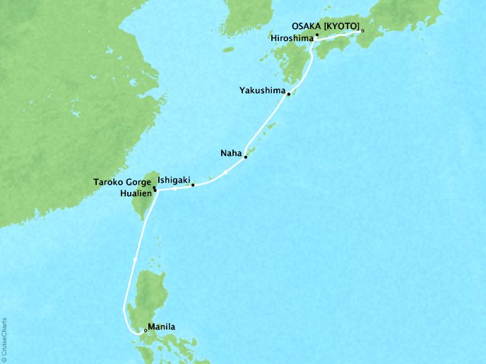 Cruises Ponant Yatch Cruises Expeditions L'Austral Map Detail Osaka, Japan to Manila, Philippines June 8-17 2018 - 9 Days