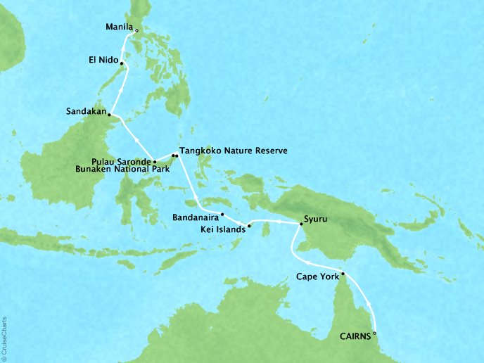 Cruises Ponant Yatch Cruises Expeditions L'Austral Map Detail Cairns, Australia to Manila, Philippines March 15-31 2018 - 16 Days