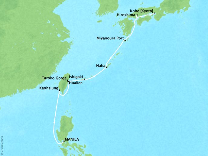 Cruises Ponant Yatch Cruises Expeditions L'Austral Map Detail Manila, Philippines to Kobe, Japan March 31 April 9 2018 - 9 Days