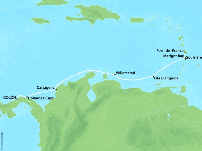 Cruises Ponant Yatch Cruises Expeditions Le Boreal Map Detail Colón, Panama to Fort-de-France, Martinique April 14-21 2022 - 7 Days