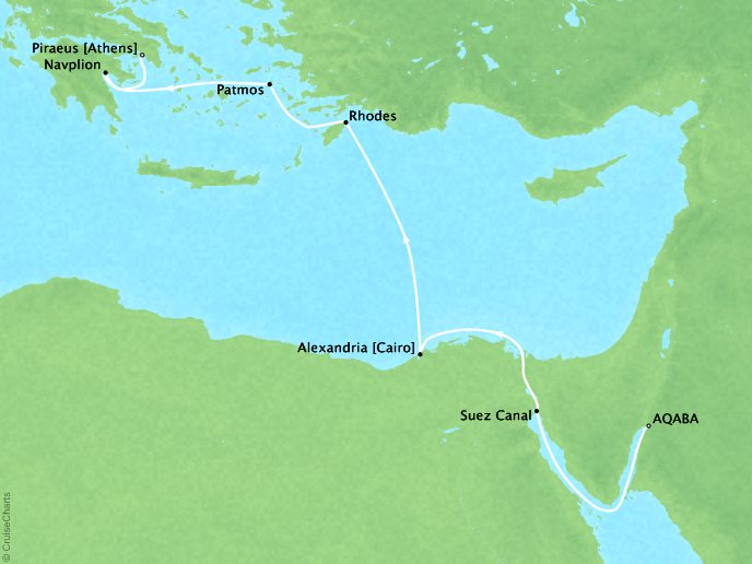 Cruises Ponant Yatch Luxury Cruise Expeditions Le Lyrial Map Detail Aqaba, Jordan to Piraeus, Greece April 26 May 3 2022 - 7 Days