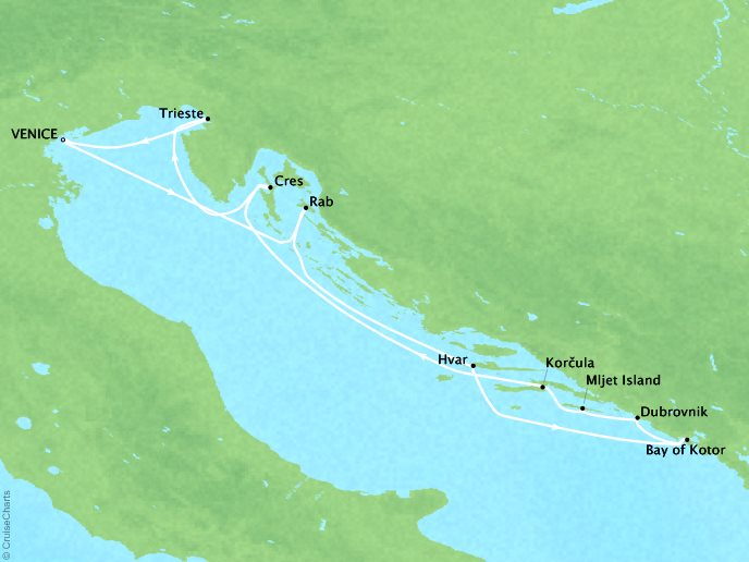 Cruises Ponant Yatch Luxury Cruise Expeditions Le Lyrial Map Detail Venice, Italy to Venice, Italy August 15-23 2022 - 8 Days