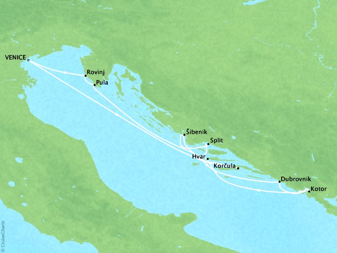 Cruises Ponant Yatch Luxury Cruise Expeditions Le Lyrial Map Detail Venice, Italy to Venice, Italy August 23-30 2022 - 7 Days