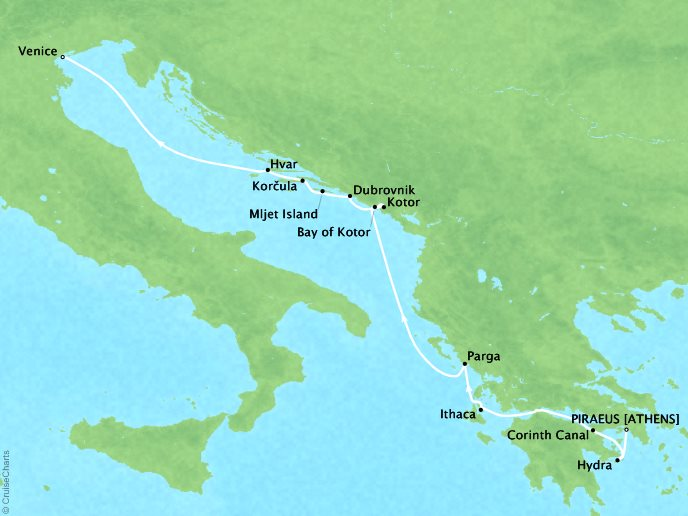 Cruises Ponant Yatch Luxury Cruise Expeditions Le Lyrial Map Detail Piraeus, Greece to Venice, Italy August 7-15 2022 - 8 Days
