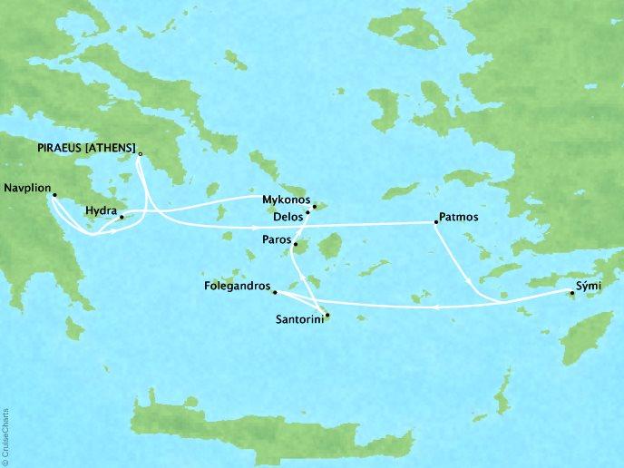 Cruises Ponant Yatch Luxury Cruise Expeditions Le Lyrial Map Detail Piraeus, Greece to Piraeus, Greece July 5-13 2022 - 8 Days