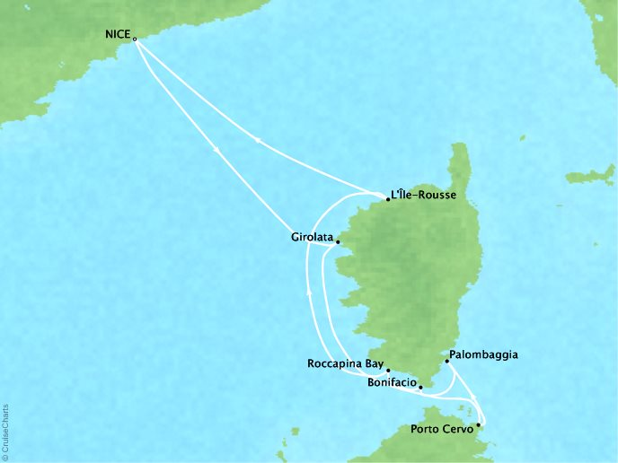 Cruises Ponant Yatch Cruises Expeditions Le Ponant Map Detail Nice, France to Nice, France July 12-19 2022 - 7 Days